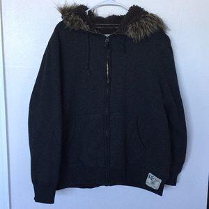 Men's Full Zip Fur Trim Hoodie Jacket Sz-XXL